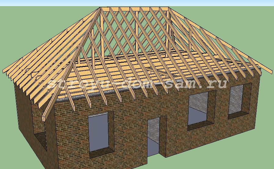 Установка четырехскатной крыши своими руками 566
