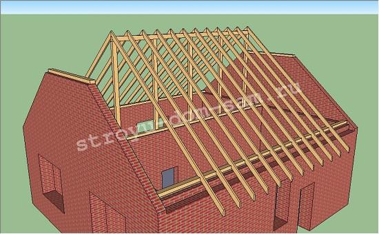 стропила скатов полувальмовой крыши